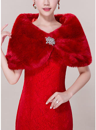 Wrap Fashion Faux Fur Acrylic With Rhinestones White Red Wraps