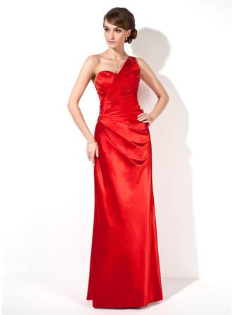 Sheath/Column One-Shoulder Charmeuse Sleeveless Floor-Length Ruffle Beading Evening Dresses