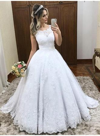 Scoop Ball-Gown Wedding Dresses Tulle Lace Sleeveless Court Train