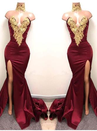 Trumpet/Mermaid Sweetheart Sweep Train Evening Dresses With Appliques Lace
