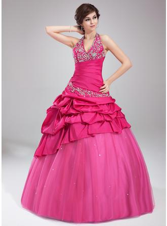 Ball-Gown Halter Floor-Length Taffeta Tulle Prom Dress With Ruffle Beading