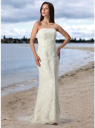 Sheath/Column Strapless Court Train Tulle Lace Wedding Dress