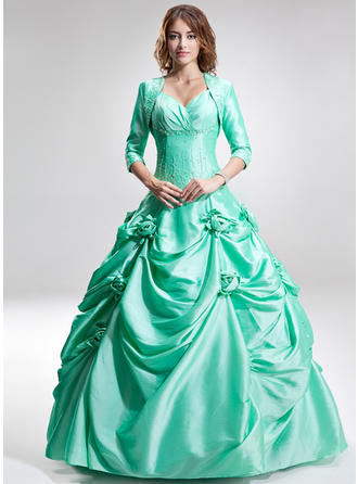 Taffeta Sleeveless Ball-Gown Prom Dresses Sweetheart Ruffle Beading Flower(s) Floor-Length