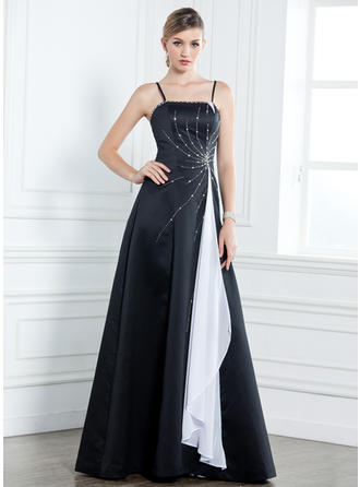 A-Line/Princess Satin Sleeveless Floor-Length Sash Beading Cascading Ruffles Mother of the Bride Dresses
