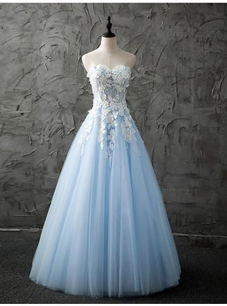 A-Line/Princess Tulle Prom Dresses Magnificent Floor-Length Sweetheart Sleeveless