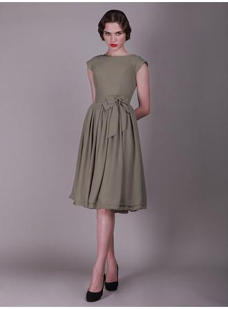 Knee-Length Cocktail Dresses With Sash Bow(s)