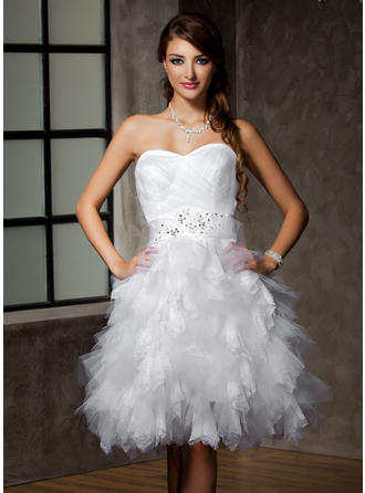 Luxurious Knee-Length A-Line/Princess Wedding Dresses Sweetheart Tulle Sleeveless