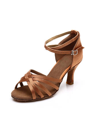 Women's Latin Sandals Satin With Ankle Strap Dance Shoes