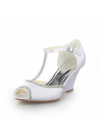 Kvinder Satin Kile Hæl Kigge Tå sandaler Kiler med Rhinsten