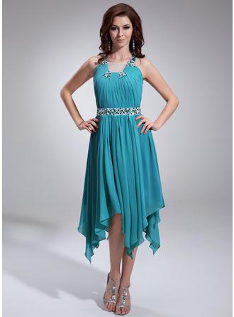 A-Line/Princess Square Neckline Asymmetrical Chiffon Prom Dress With Ruffle Beading