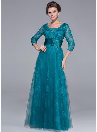 A-Linie/Princess-Linie U-Ausschnitt Bodenlang Tüll Spitze Kleid für die Brautmutter mit Rüschen Perlstickerei Pailletten
