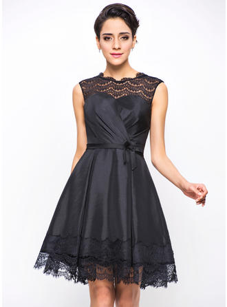 A-Line/Princess Taffeta Cocktail Dresses Ruffle Bow(s) Scoop Neck Sleeveless Short/Mini