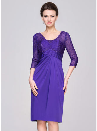 Sheath/Column Lace Jersey 1/2 Sleeves V-neck Knee-Length Zipper Up Mother of the Bride Dresses