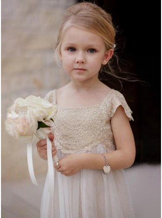 A-Line/Princess Square Neckline Ankle-length Chiffon/Lace Sleeveless Flower Girl Dress