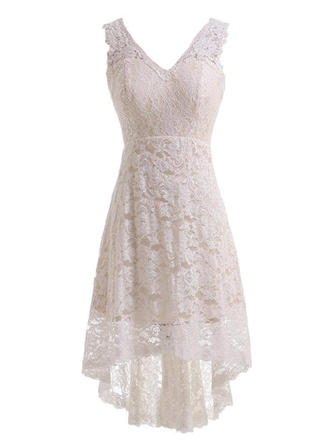 Simple Lace Wedding Dresses A-Line/Princess Knee-Length Asymmetrical V-neck Sleeveless