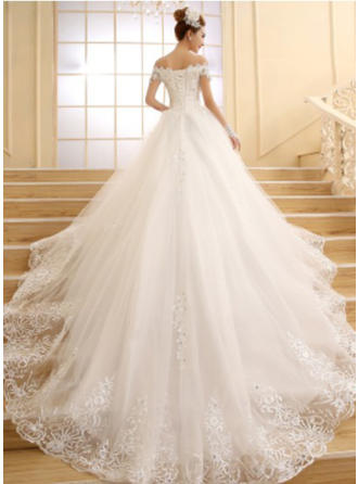 Ball-Gown Off-The-Shoulder Cathedral Train Wedding Dress With Beading Appliques Lace Sequins