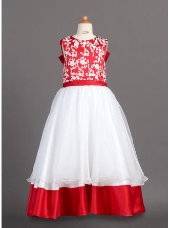 A-Line/Princess Scoop Neck Floor-length With Lace Organza/Charmeuse Flower Girl Dress