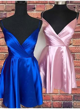 Ruffle V-neck Satin A-Line/Princess Homecoming Dresses