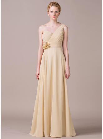 A-Line/Princess One-Shoulder Floor-Length Chiffon Bridesmaid Dress With Ruffle Flower(s)