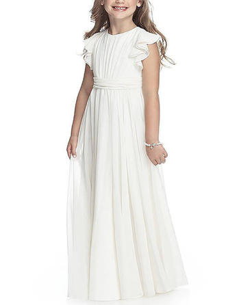 Glamorous Floor-length A-Line/Princess Flower Girl Dresses Scoop Neck Chiffon Sleeveless