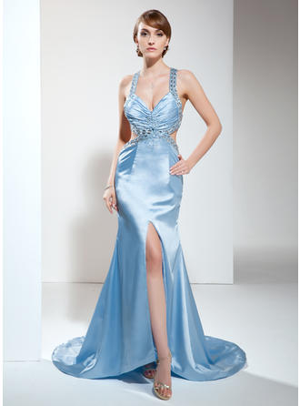 Trumpet/Mermaid Charmeuse V-neck Sleeveless Evening Dresses