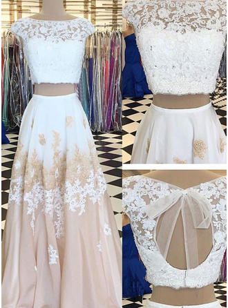 A-Line/Princess Scoop Neck Floor-Length Evening Dresses With Lace Beading Appliques Lace
