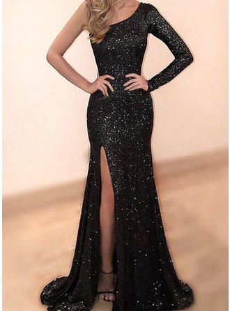 Trumpet/Mermaid One-Shoulder Sequined Long Sleeves Sweep Train Split Front Evening Dresses