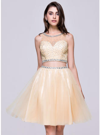 A-Line/Princess General Plus Tulle Scoop Neck Homecoming Dresses
