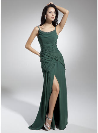 A-Line/Princess Scoop Neck Floor-Length Chiffon Prom Dress With Ruffle Beading Split Front