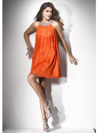 High Neck Knee-Length Homecoming Dresses