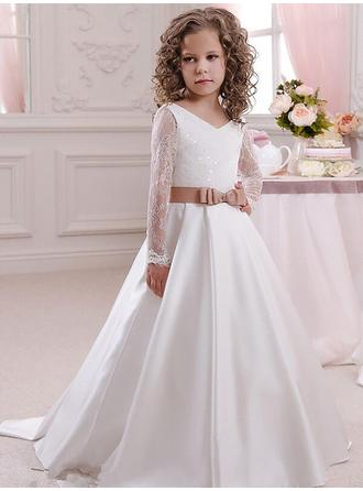 Ball Gown V-neck Sweep Train With Sash/Bow(s) Satin/Lace Flower Girl Dresses (010211803)