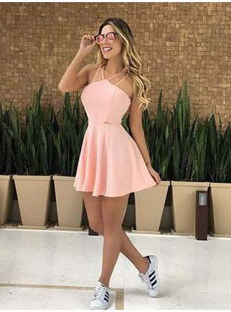 Ruffle V-neck Jersey A-Line/Princess Homecoming Dresses