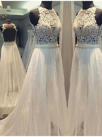 A-Line/Princess Scoop Sweep Train Wedding Dress With Beading