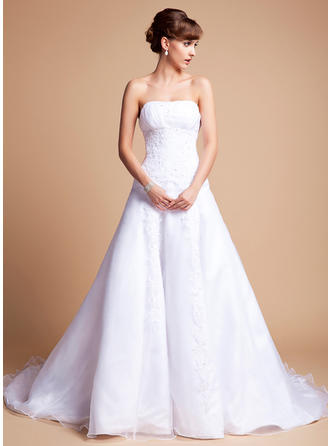 Newest Chapel Train A-Line/Princess Wedding Dresses Sweetheart Satin Organza Sleeveless