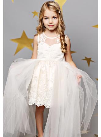 A-لاين أميرة عنق مدور طول الركبة مع ربط الحذاء/زين قماش رقيق شفاف/ربط الحذاء فستان فتاة الزهور