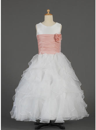 A-Line/Princess Scoop Neck Floor-length With Ruffles/Sash/Flower(s) Taffeta/Organza Flower Girl Dress