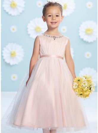 קו-A/נסיכה צווארון סקופ אורך-קרסול Satin/Tulle שמלה לילדות הטקס