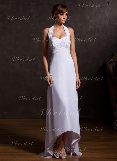 Novísimo Asimétrico Corte imperial Gasa Vestidos de madrina (008211065)