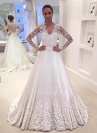 Cuello de pico Cola corte - Corte A/Princesa Satén Vestidos de novia (002148243)