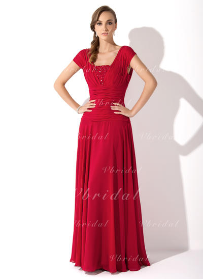 Luxurious シフォン スクエアネック Aライン/プリンセスライン2 ミセスドレス (008006086)