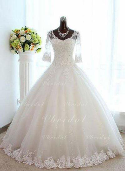 Flattering развальцовка Платье для Балла с Тюль Кружева Свадебные платья (002147964)
