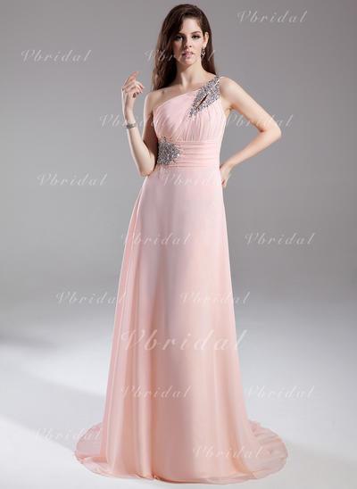Aライン/プリンセスライン2 シフォン ワンショルダー 袖なし イブニングドレス (017015805)