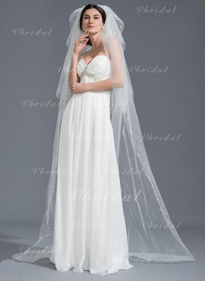 Velos de novia capilla Tul Tres capas Óvalo con Corte de borde Velos de novia (006109877)