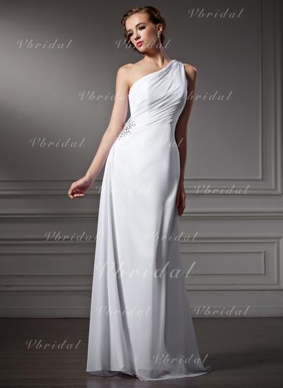 Elegante Barrer/Cepillo tren Un hombro Vestido tubo Gasa Vestidos de novia (002196861)