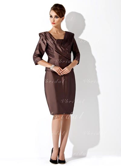 Moderno Tafetán Sin tirantes Vestido tubo Vestidos de madrina (008006168)