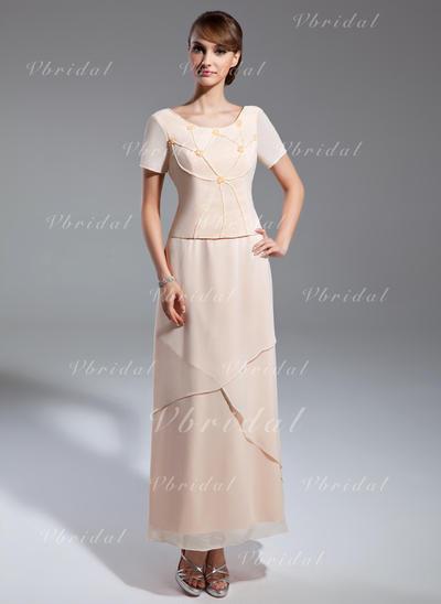 Princesa Escote redondo Corte A/Princesa Gasa Vestidos de madrina (008211381)