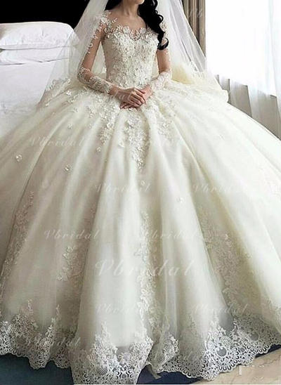 Delicado Cuentas Los appliques Encaje Flores Corte de baile con Organdí Vestidos de novia (002147855)