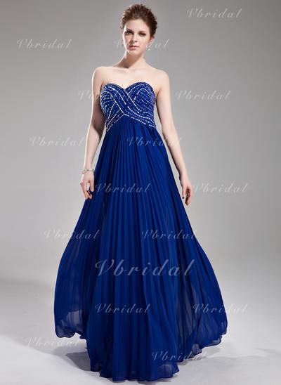 Aライン/プリンセスライン2 袖なし ビーズ スパンコール プリーツの シフォン プロム用ドレス (018004801)
