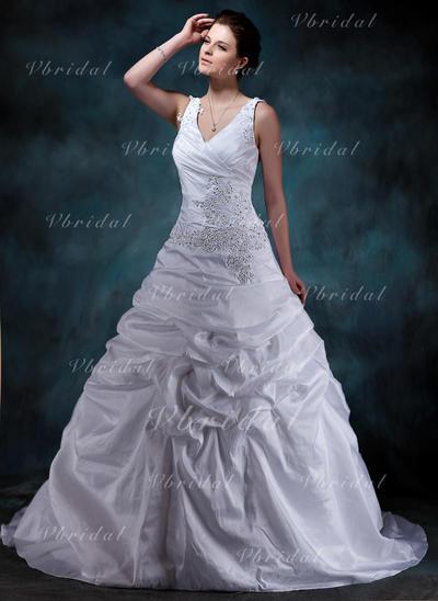 Chic Tafetán Corazón Sin mangas Vestidos de novia (002001588)
