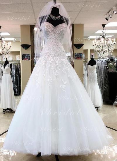 Hasta el suelo Cuentas Los appliques Encaje Lentejuelas Corazón con Tul Vestidos de novia (002146923)